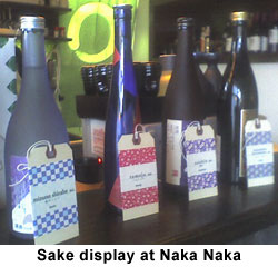 Sake display at Naka Naka