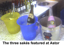 The three sakés featured at astor